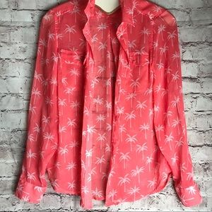 American Eagle palm print coral button up shirt